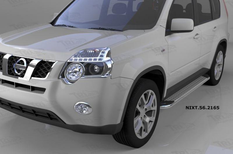 Пороги алюминиевые (Opal) Nissan X-Trail (Ниссан Икстрейл) (2007-2010-2014), NIXT562165
