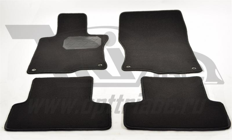 Коврики салона текстильные Honda (Хонда) Accord (2008-2013) (Велюр, полиамид)(подпятник п/у)(черные)