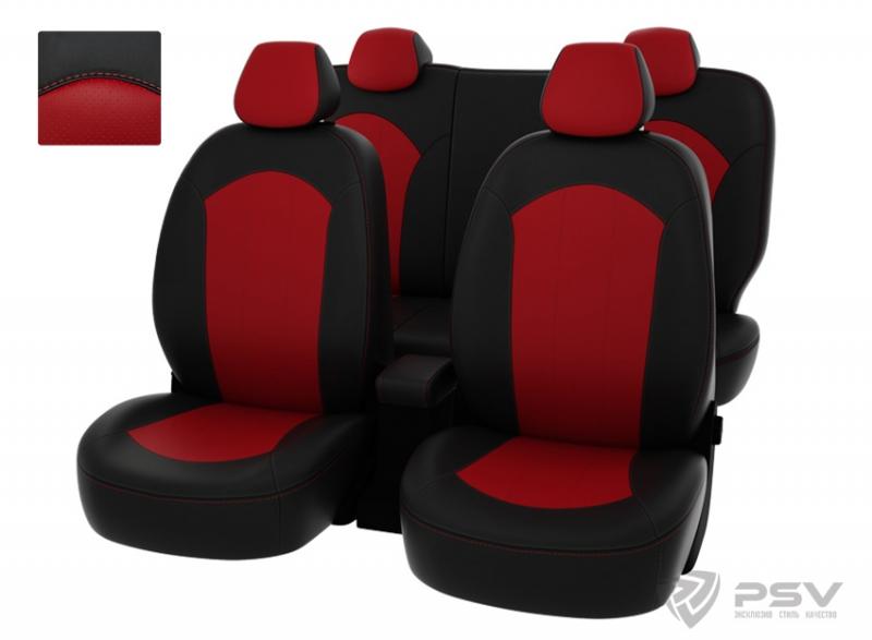 """Чехлы Hyundai Solaris 11->S чер-крас экокожа """"Оригинал"""", 122062"""