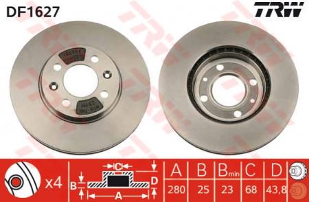 Диск тормозной передний, TRW, DF1627