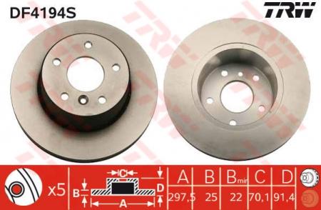 Диск тормозной передний, TRW, DF4194S