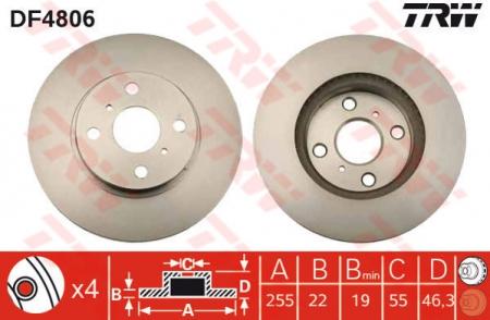 Диск тормозной передний, TRW, DF4806