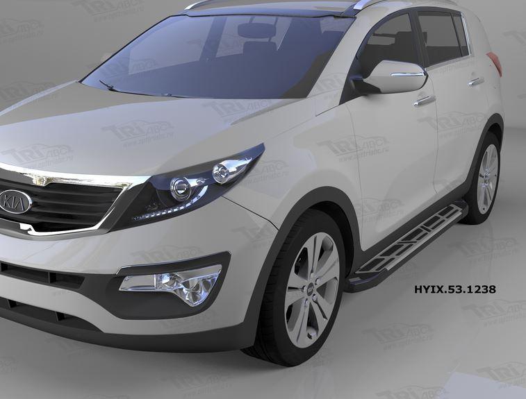 Пороги алюминиевые (Corund Silver) Hyundai IX-35 (2009-2015)/ Kia Sportage (Киа Спортаж) III (2010-2