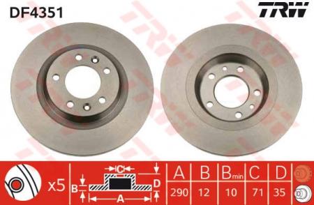 Диск тормозной задний, TRW, DF4351