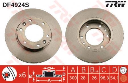 Диск тормозной передний, TRW, DF4924S