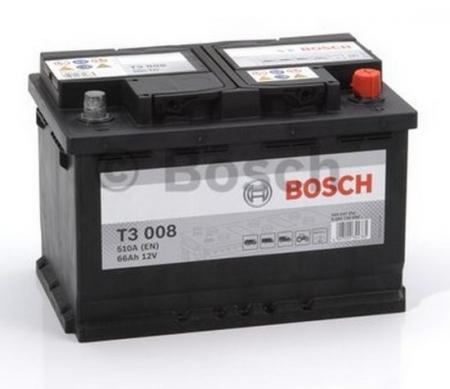 Аккумуляторная батарея Bosch T3, 12 В, 66 А/ч, 510 А, 0092T30080