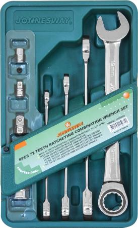 W45508S Набор ключей комбинированных трещоточных 10-19 мм и адаптеров, 8 предметов