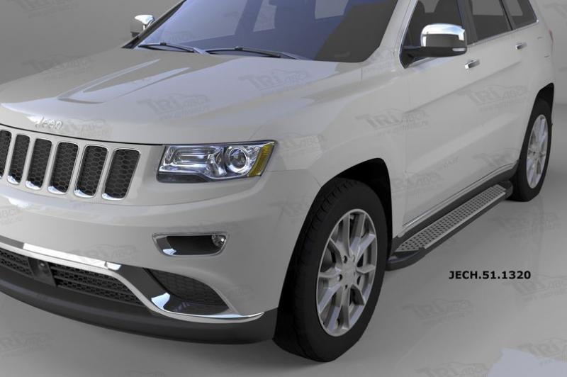 Пороги алюминиевые (Sapphire Silver) Jeep Gr. Cherokee (2011-) (кроме SRT), JECH511320