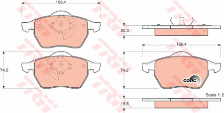Колодки дисковые Передние, TRW, GDB1376