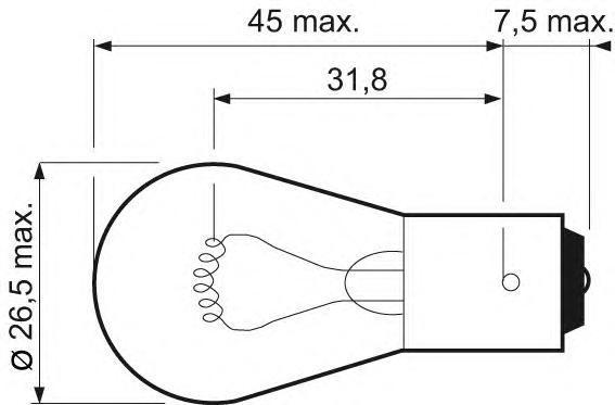 Лампа, 12 В, 21 Вт, P21W, BA15s, VALEO, 032 101