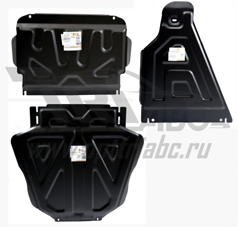 Защита картера двигателя и кпп Mitsubishi Pajero (Митсубиши Паджеро) IV (V-3,0; 2006-)+РК из 3-х час