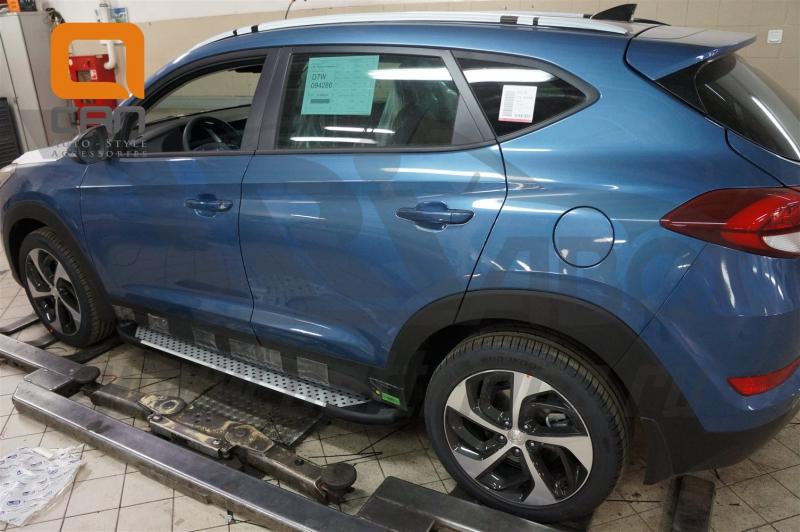 Пороги алюминиевые (Sapphire Silver) Hyundai Tucson (2015-) / Kia Sportage (2016-), HYTU511330