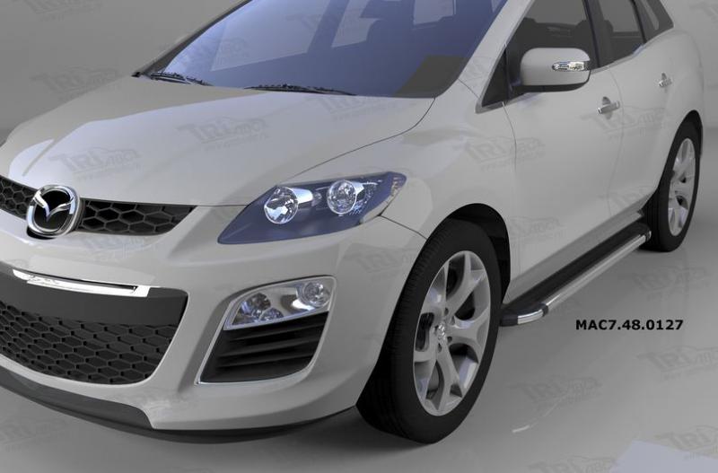 Пороги алюминиевые (Brillant) Mazda (Мазда) CX7 (2011-) (черн/нерж), MAC7480127