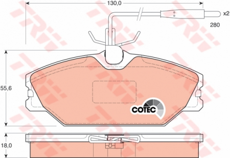 Колодки дисковые Передние, TRW, GDB1030