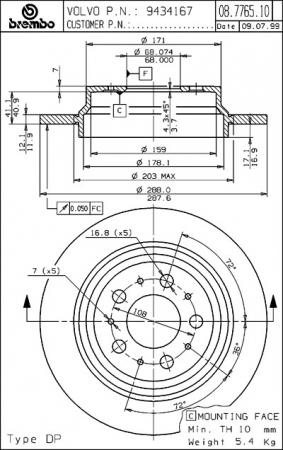 Диск тормозной задний, BREMBO, 08776511