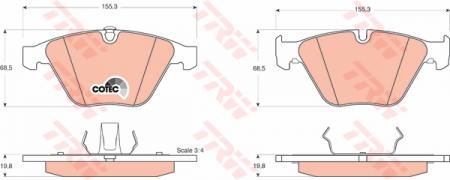 Колодки дисковые Передние, TRW, GDB1498