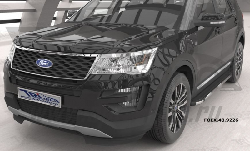Пороги алюминиевые (Brillant) Ford Explorer (2011-/ 2015-) (черн/нерж), FOEX489226