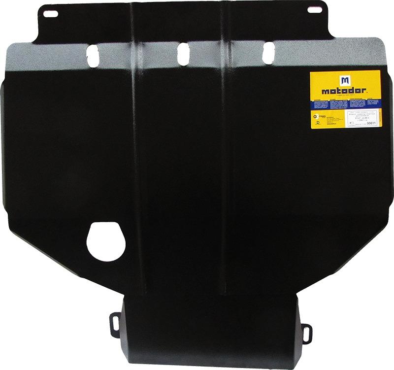 Защита картера двигателя, КПП Fiat Albea 2003- V=1,4 (сталь 2 мм), MOTODOR00611