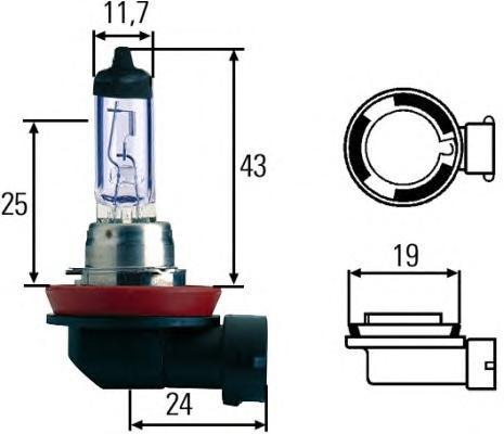 Лампа, 12 В, 35 Вт, H8, PGJ19-1, HELLA, 8GH 008 356-181