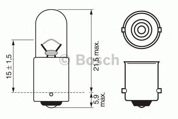 Лампа Trucklight, 24 В, 4 Вт, T4W, BA9s, BOSCH, 1 987 302 512
