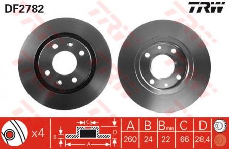 Диск тормозной передний, TRW, DF2782