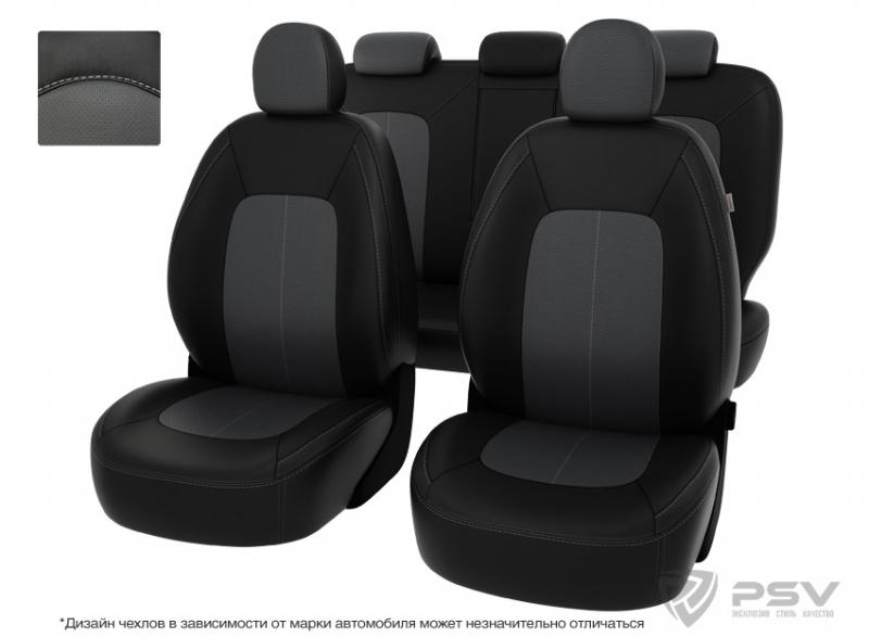 """Чехлы Hyundai Santa Fe III 13-> чер-сер экокожа """"Оригинал"""", 122521"""