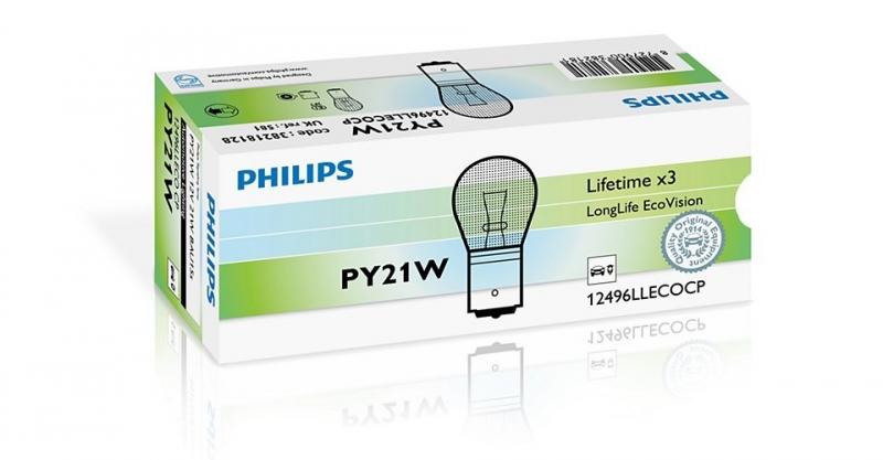 Лампа, 12 В, 21 Вт, PY21W, BAU15s, PHILIPS, 12496 LLECOCP