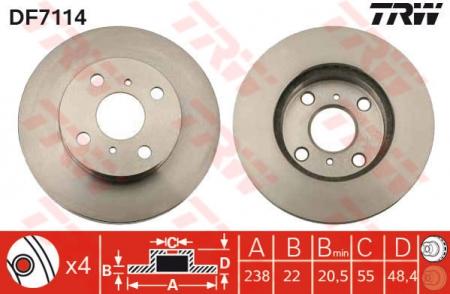 Диск тормозной передний, TRW, DF7114