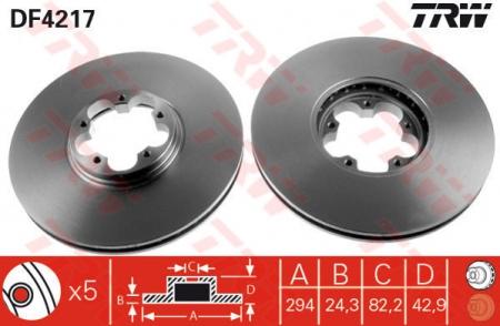 Диск тормозной передний, TRW, DF4217