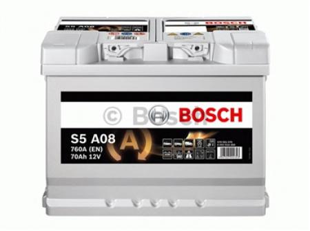 Аккумуляторная батарея Bosch AGM, 12 В, 70 А/ч, 760 А, 0092S5A080