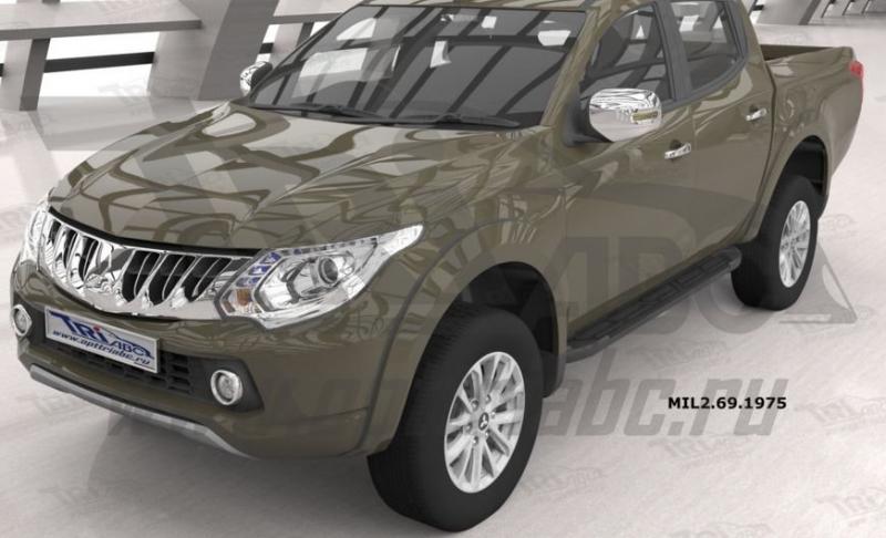 Пороги алюминиевые (Corund Black) Mitsubishi L200 (2006-2013 / 2014- / 2015-), MIL2691975