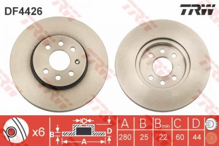 Диск тормозной передний, TRW, DF4426