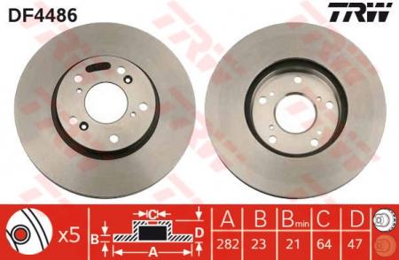 Диск тормозной передний, TRW, DF4486