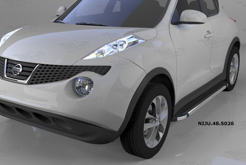 Пороги алюминиевые (Corund Silver) Nissan Juke (2011-), NIJU535021