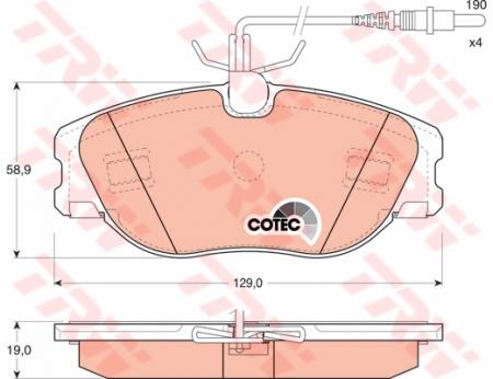 Колодки дисковые Передние, TRW, GDB1148