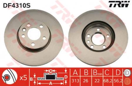 Диск тормозной передний, TRW, DF4310S