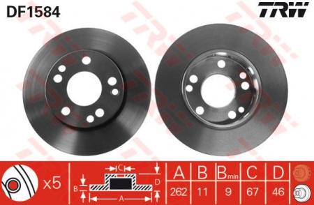 Диск тормозной передний, TRW, DF1584