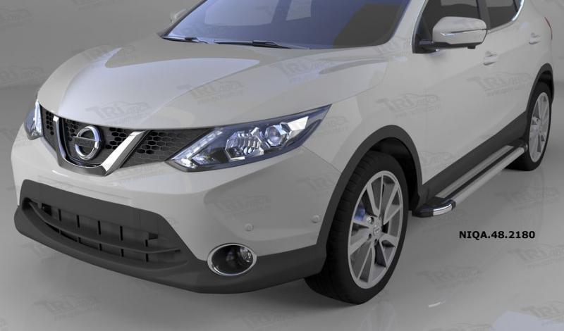 Пороги алюминиевые (Brillant) Nissan Qashqai (Ниссан Кашкай) (2014-) (серебр), NIQA482180