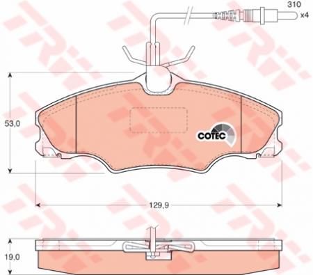 Колодки дисковые Передние, TRW, GDB1193
