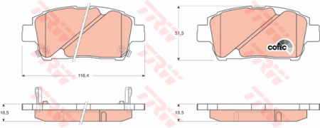 Колодки дисковые Передние, TRW, GDB3242