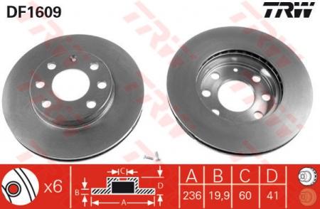 Диск тормозной передний, TRW, DF1609