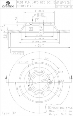 Диск тормозной задний, BREMBO, 0888432X