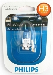 "Лампа ""BlueVision ultra"", 12 В, 55 Вт, H3, Pk22s, PHILIPS, 12336 BVUB1"