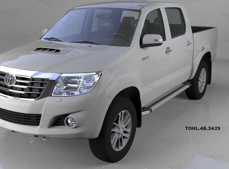 Пороги алюминиевые (Brillant) Toyota HiLux (2012-2015) (серебр), TOHL483425