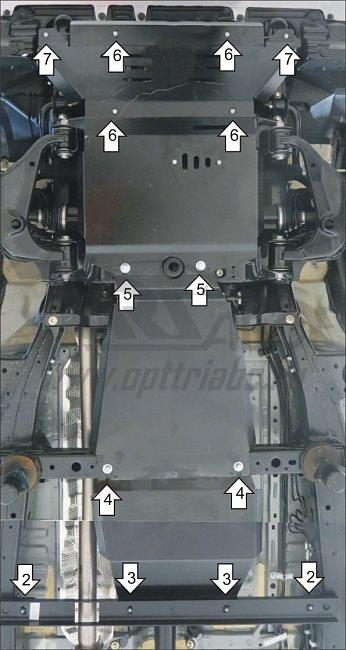 Защита картера двигателя, КПП и РК Toyota Hilux V=2,4; 2,8TD; AWD;АКПП; МКПП (2015-) 3 части (сталь