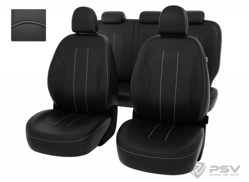 """Чехлы Hyundai ix35 2010-2015 черный/отстрочка белая, экокожа """"Оригинал"""", 122110"""