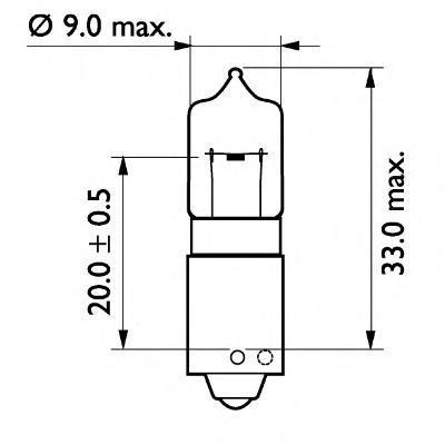Лампа, 24 В, 21 Вт, H21W, BAY9s, BOSCH, 1 987 302 533