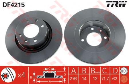 Диск тормозной задний, TRW, DF4215