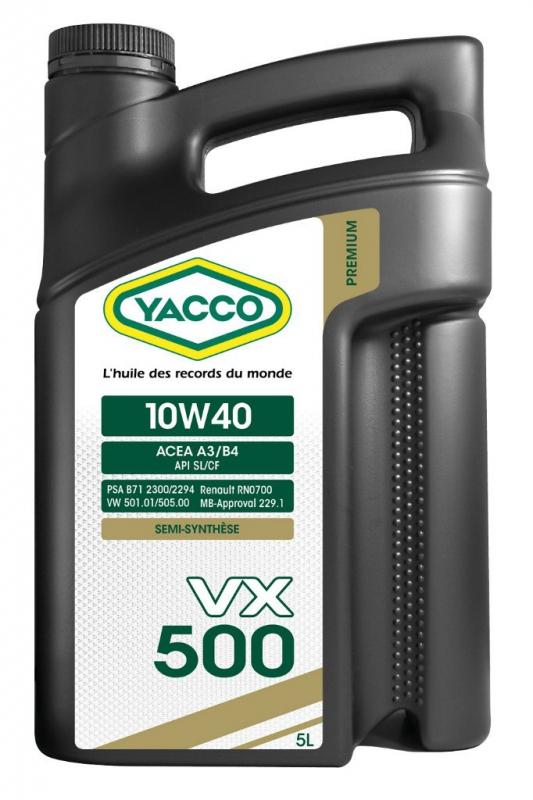 Масло моторное YACCO VX 500 п/синт. 10W40,SL/CF (5 л)