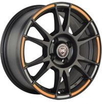 Колесный диск NZ SH670 5.5x14/4x100 D56.1 ET49 черный матовый с оранжево-серой полосой по ободу (MBO